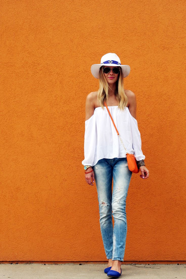 white off-the shoulder top, boyfriend jeans, tangerine gigi new york crossbody, white panama hat