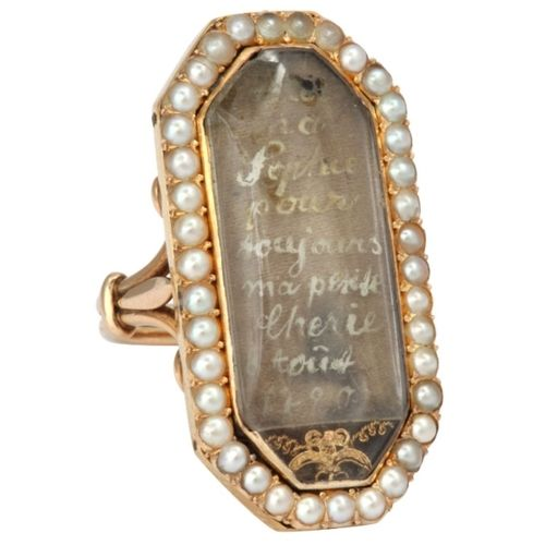"""Gold, pearl and crystal ring, France c.1790. Under the crystal of this French love token is written """"For My Sophie You are Always My Little Darling 1790"""""""