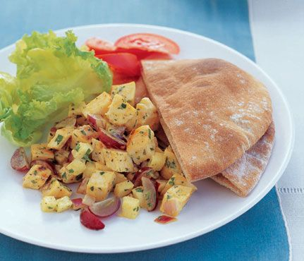 ... Grilled Curried Chicken Salad and Pita #SelfMagazine #Healthy #Dinner