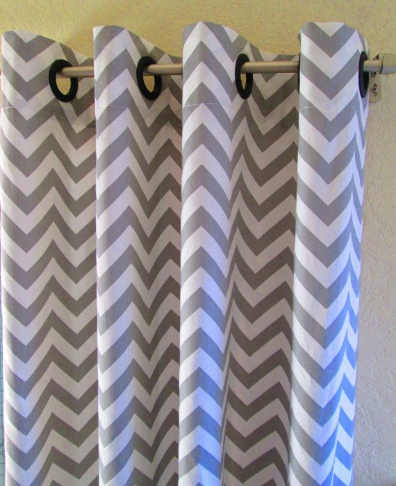 Turquoise And Gray Shower Curtain Grey and White Chevron Print