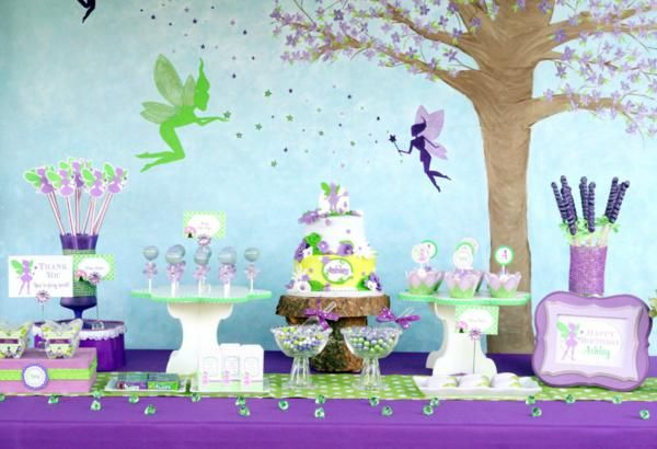 Tinker Bell Fairy Themed 7th Birthday Party ~ Created by A to Zebra Celebrations~ Flower cake pop and cupcake stand from www.cupcake-stand.com