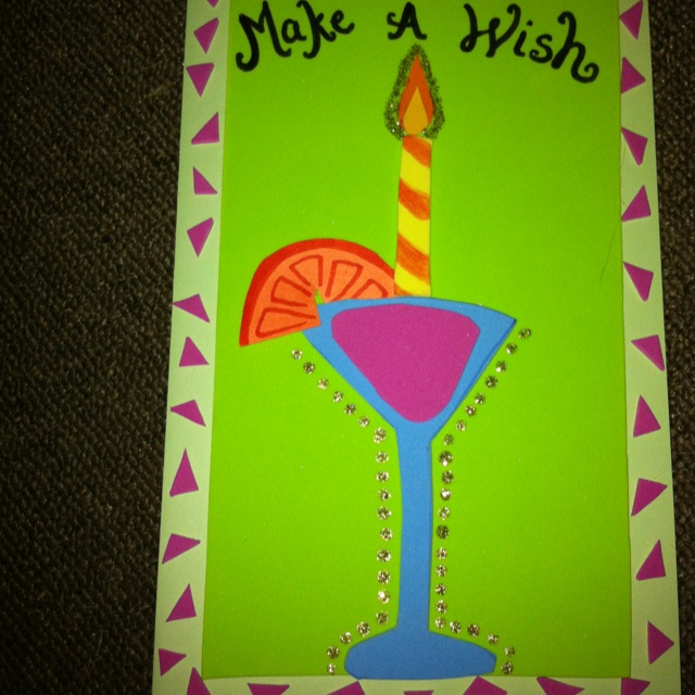 Mom's bday card for this year! Cosmos > cakes.