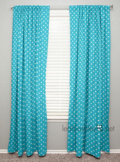 Curtain panel turquoise white polka dot - White and turquoise curtains ...