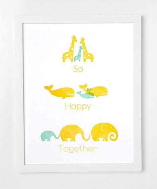 Letterpress Animal Family Art Print So by sycamorestreetpress, $35.00