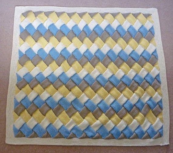 ENTRELAC Baby Blanket Knitting Pattern Immediate Download