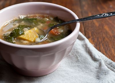Roasted Squash, White Bean, and Kale Soup