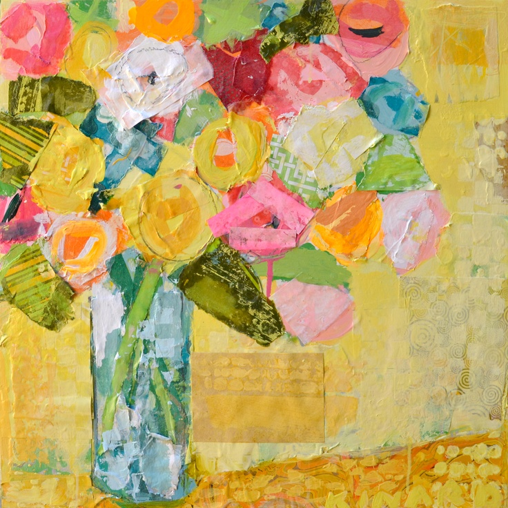 Bell Jar Flowers on Yellow 24x24 mixed media