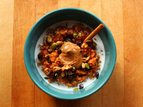 ... pumpkin purée, brown sugar, and pumpkin pie spice) topped with almond