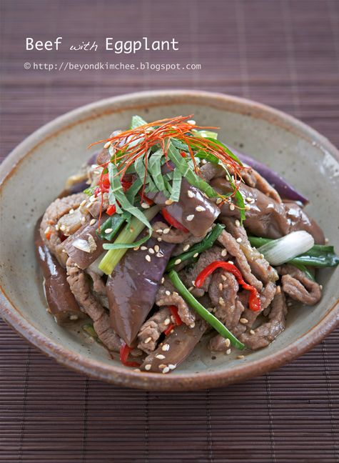 Korean Beef with Eggplant. Not a stir-fry. Quite healthy!