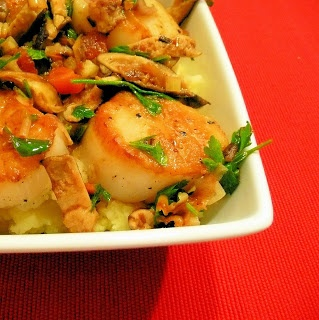 ... Scallops with Garlic-Parsley Butter, mushrooms and mashed potato