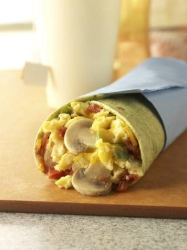 mushroom and scrambled egg wrap (this recipe is done in the microwave ...
