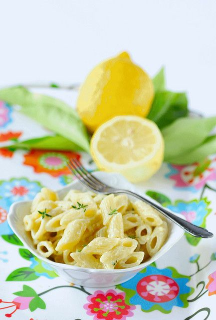 Creamy Pasta With Lemon and Thyme | Luscious Lemon Savoury | Pinterest