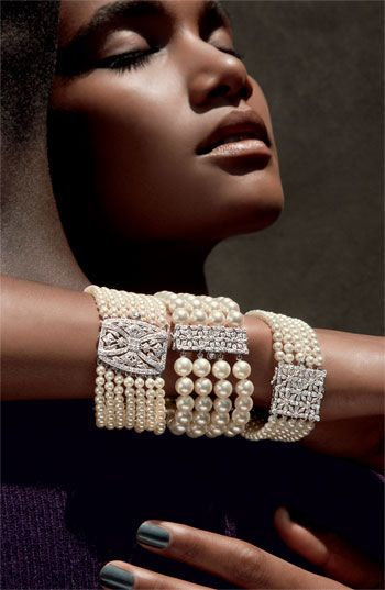 Mastoloni 5-Strand Pearl & Diamond Clasp Bracelet