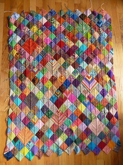 Scrap Yarn Knitting Patterns : Sock Yarn Scraps Blanket. Knit Pinterest