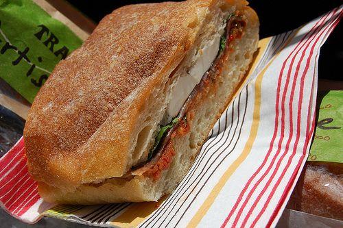 pressed sandwich - mozzarella, prosciutto, basil, sundried tomato ...