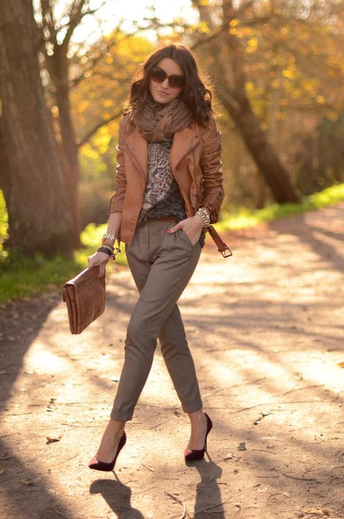 Brown Leather Jacket with Nice Scarf and Elegant Trousers