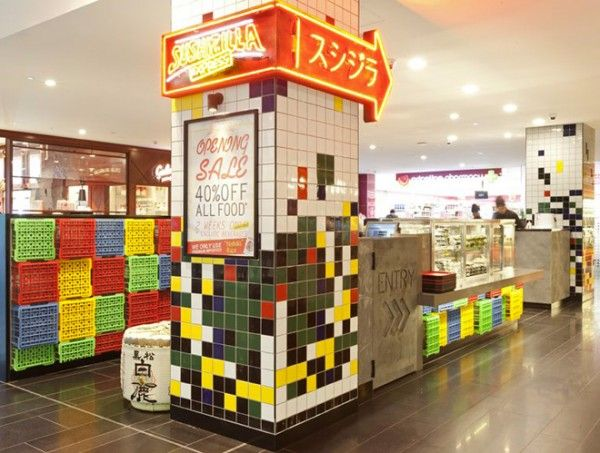 Crates used as decoration for Sushizillas restaurant in Sydney in plastics architecture  with sushi repurposed crates Crates