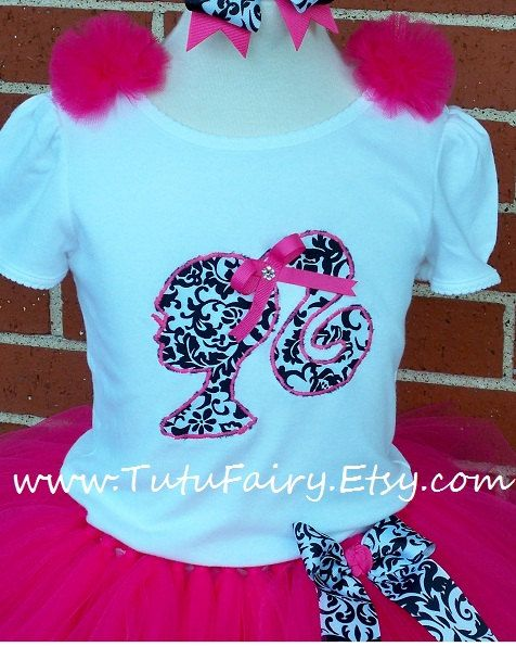Pink Damask Barbie Silhouette Applique Shirt by TutuFairy on Etsy, $22.50