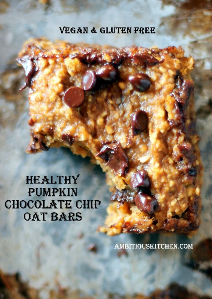 Healthy Pumpkin Chocolate Chip Oat Bars (vegan and gluten free) | Rec ...