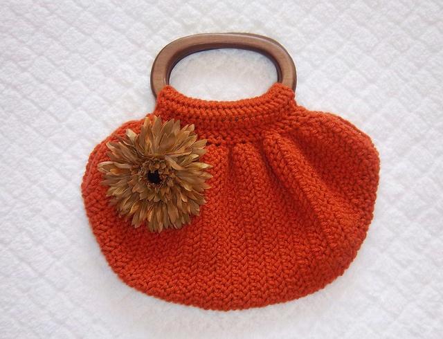 Orange crochet wood handle flower purse Yarn Pinterest