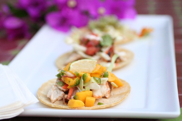 savory fish tacos with fresh mango salsa | All Noms | Pinterest
