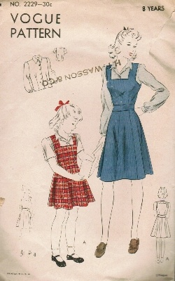 Vintage Fashion Library - Vintage 40s Girls Pinafore Jumper Dress Bishop Sleeve Blouse Sewing Pattern Vogue 2229 8