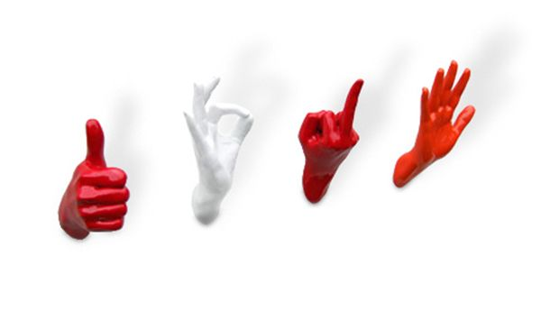 Red And White Hand Shaped Wall Hooks Hands Pinterest