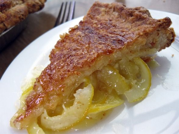 Shaker Meyer Lemon Pie - thinly sliced lemons mixed with sugar and ...