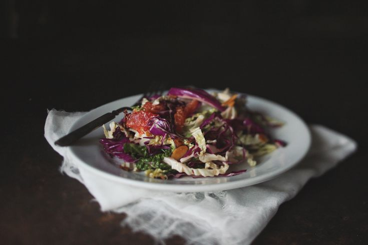 Cabbage with Almonds, Blood Orange and Ginger Vinaigrette