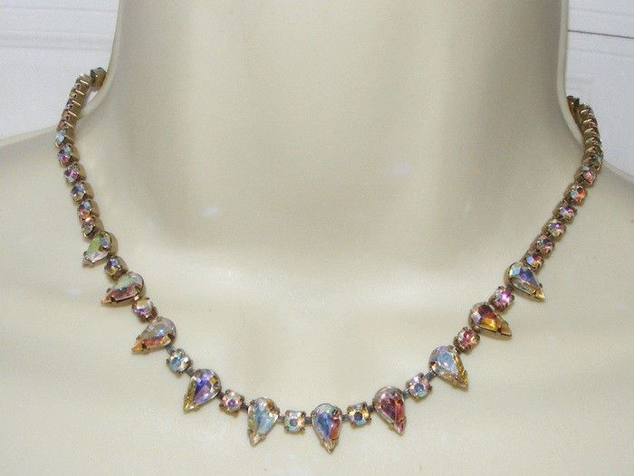 Vintage weiss ab rhinestone necklace costume jewelry for Vintage costume jewelry websites