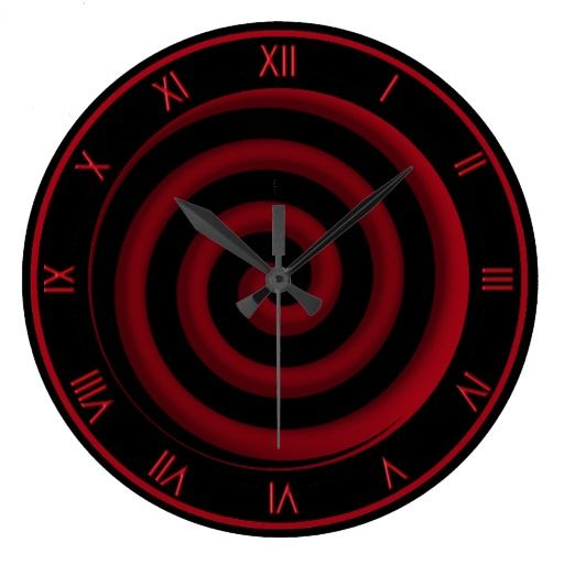 Super cool black and red spiral wall clock for Red and black wall clock