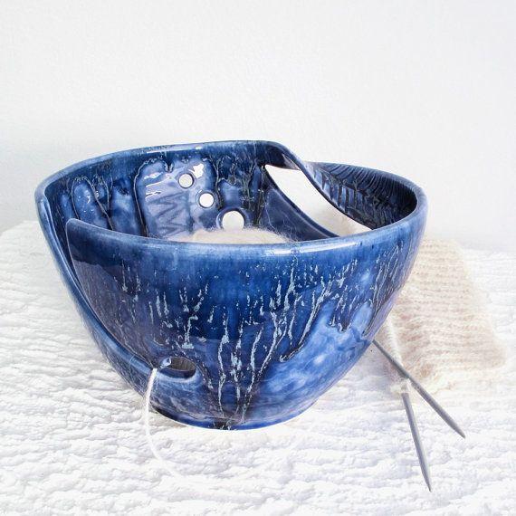 Crochet Yarn Bowl : Blue Ceramic Yarn Bowl, knitting bowl, Crochet Bowl, Handmade Pottery ...