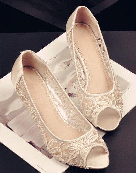 handmade lace fish wedges heel wedding shoes bridal