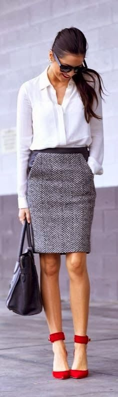 Gorgeous Grey Skirt with White Shirt