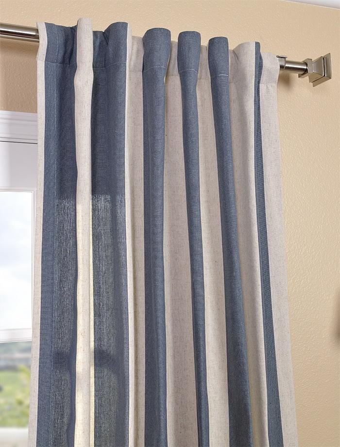 ... Navy Stripe Linen Blend Curtain | Family room fabrics/ideas