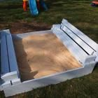 Diy sandbox plans with cover seats for the kids pinterest for Sandbox with built in seats plans