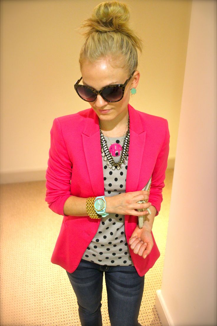 bright blazer, polka dots and mint watch