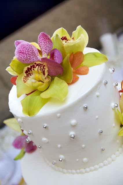 Orchids make beautiful cake toppers