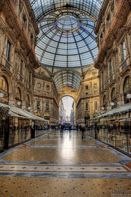 The Galleria Vittorio Emanuele in Milan, Italy is one of the world's oldest shopping malls.  You won't find bargain prices, but this is one magnificent shopping mall.  Treat yourself to lunch, and enjoy window shopping.