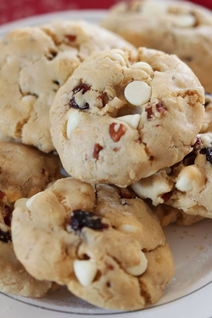 white chocolate white chocolate cranberry pretzel cookies jumbles ...