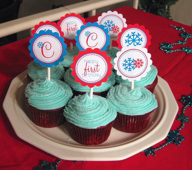 Birthday winter themed cupcakes
