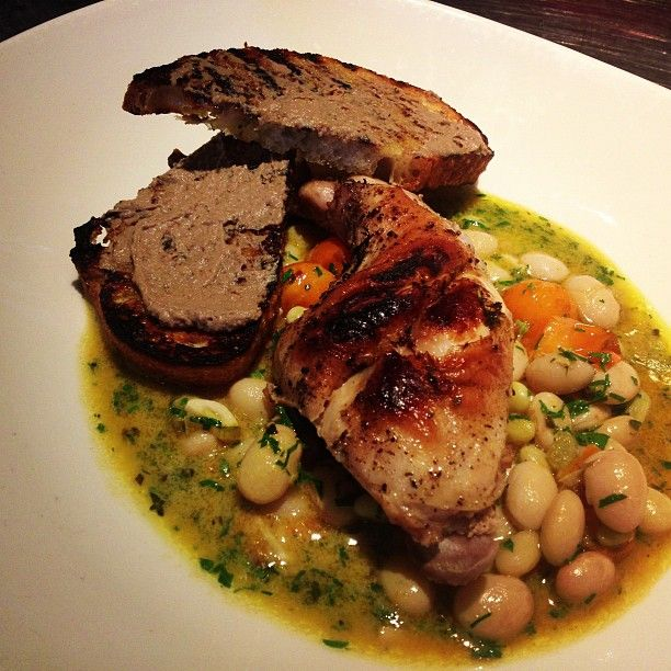 Braised rabbit leg, cranberry beans, blistered sungold tomatoes ...