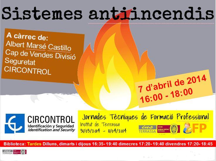 Conferència sobre sistemes antiincendis a càrrec d'Albert Marsé, Cap de Vendes de la Divisió de Seguretat de Circontrol. Especial per alumnes de CFGS de Prevenció de Riscos professionals
