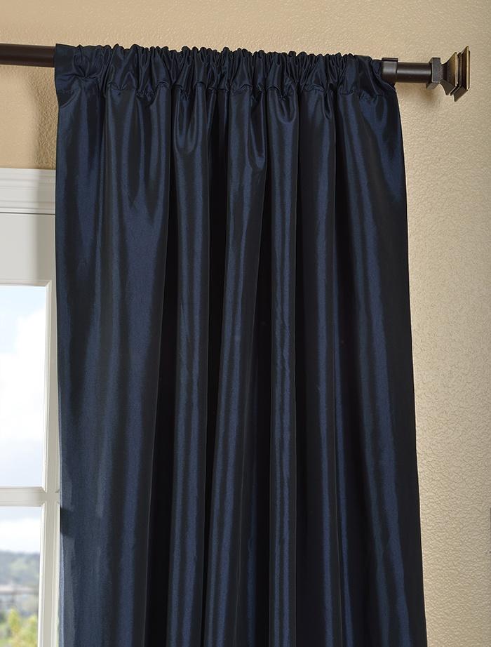 Navy Blue Faux Silk Taffeta Curtain   For Our House   Pinterest