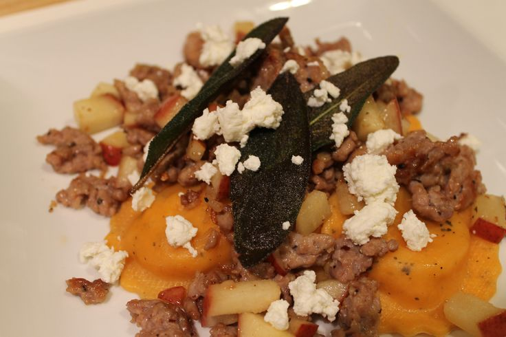 Butternut Squash Ravioli with Sausage, Pears, Goat Cheese, Brown ...