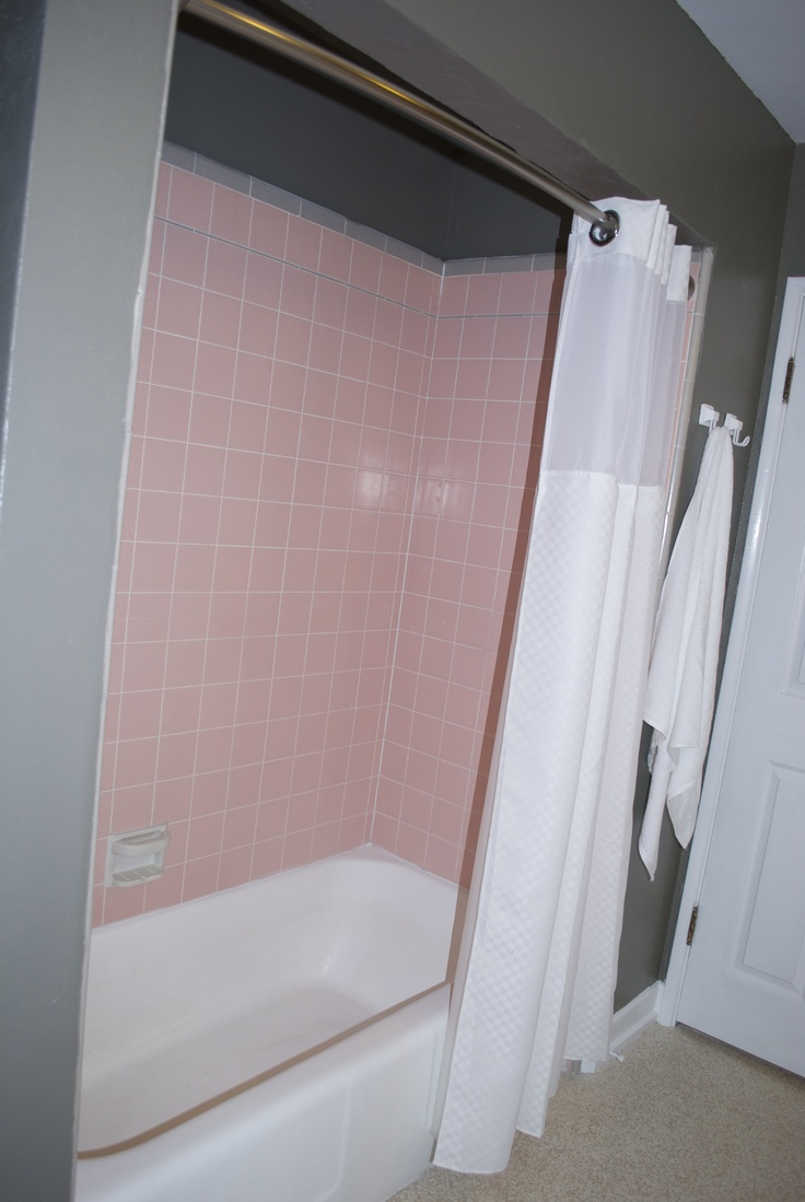 pink tile shower pink and grey bathroom pinterest. Black Bedroom Furniture Sets. Home Design Ideas