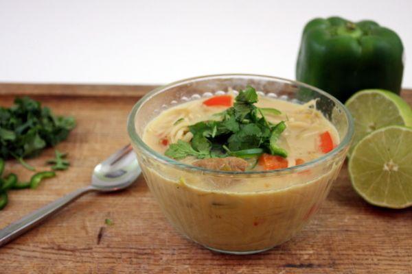 Vegan Slow Cooker Thai Seitan Noodle Soup | The Kitchen Paper