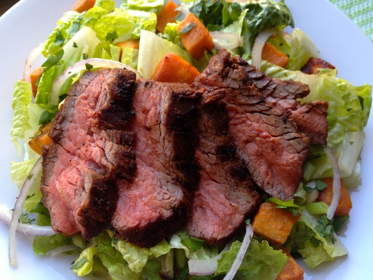 Spicy (Flank) Steak Salad with Roasted Sweet Potatoes: (Serves 4 ...