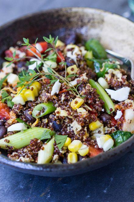 Southwestern Quinoa Scramble - Cooking Quinoa (swap feta for vegan ...