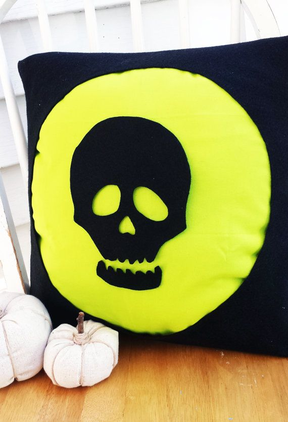 Silhouette Halloween Pillow Skull 16x16 by LovebugHandmade on Etsy       Halloween Skull Silhouette
